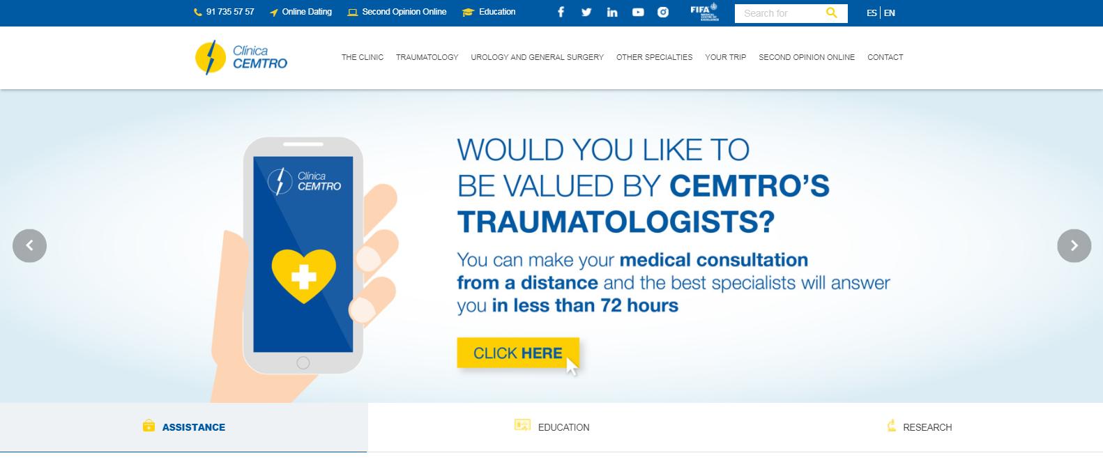 Clinica CEMTRO estrena web Ingles